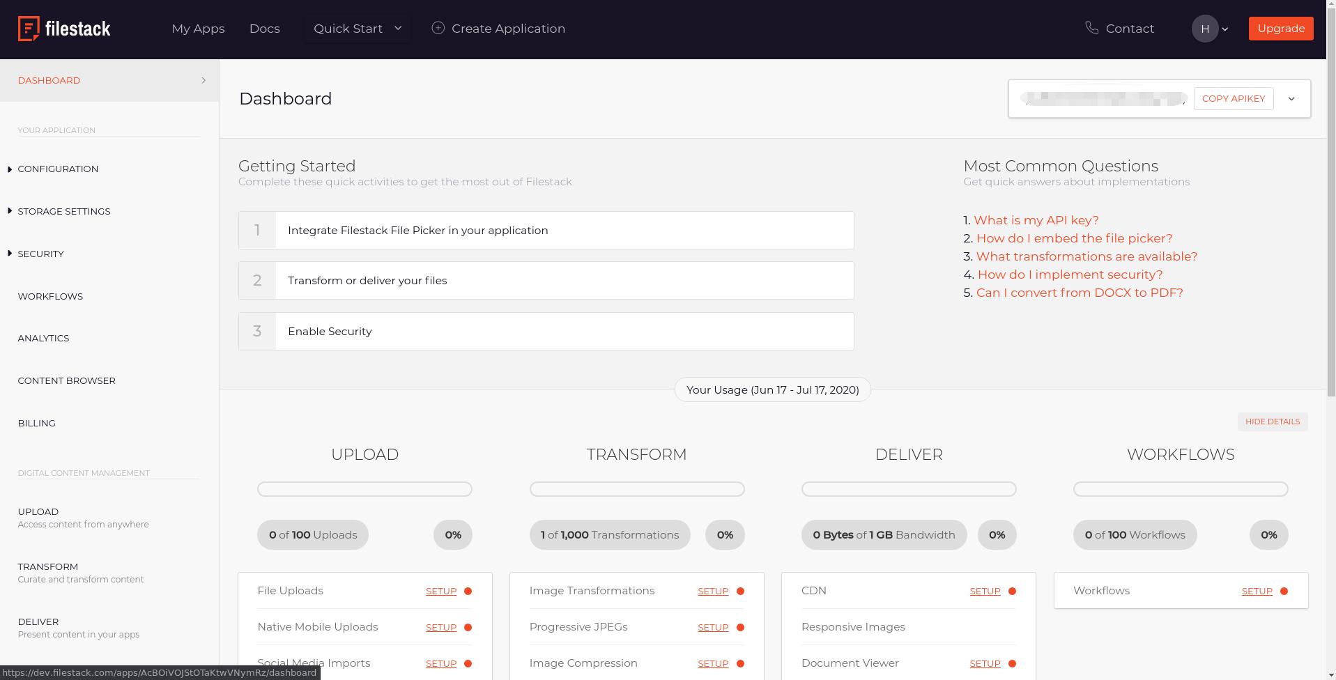 Developer Portal Dashboard