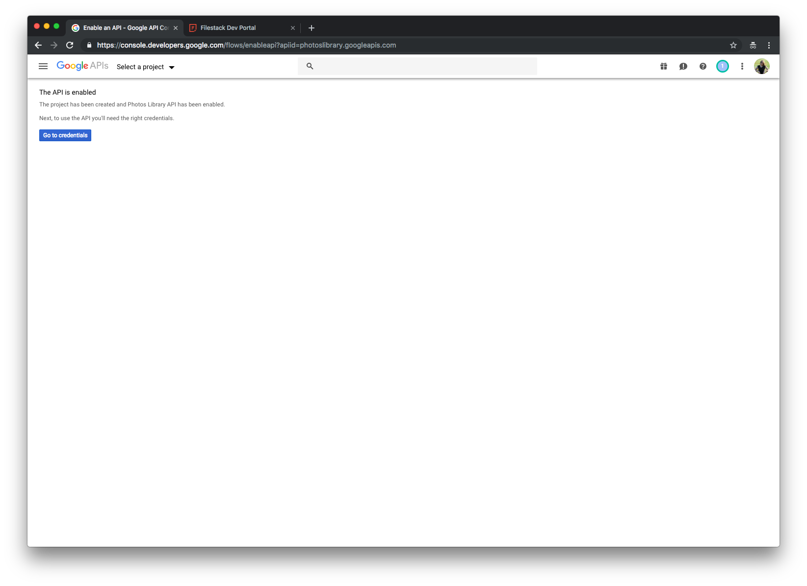 Screenshot showing The API is enabled step in Google API Console