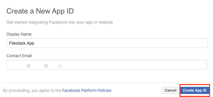 Screenshot showing how to create a Facebbok App ID